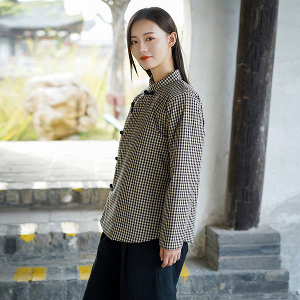 2020 NEW! Women Chinese Style Small Grid Linen and Cotton Quilted Tops