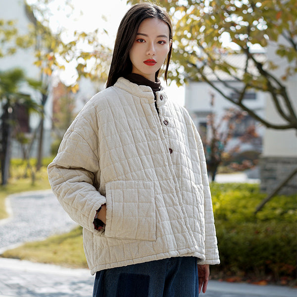 2020 NEW! Women Retro Style Short Length Linen and Cotton Grid Quilted Coat