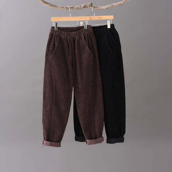 2020 NEW! Women Pure Color Corduroy Cropped Pants