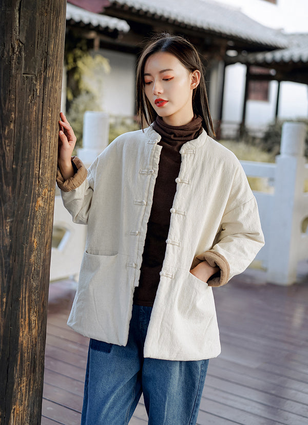 2020 NEW! Women Retro Style Short Length Linen and Cotton Thin Quilted Coat