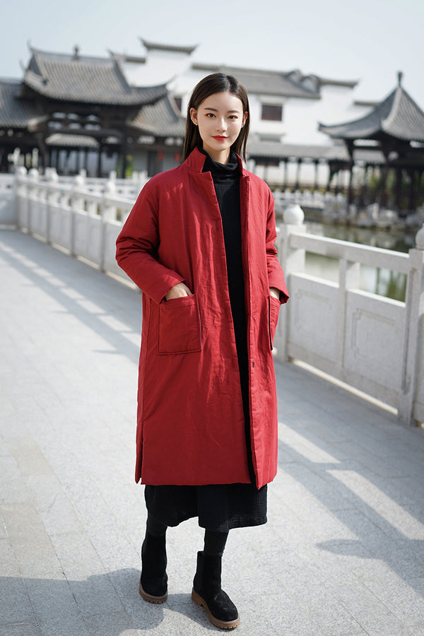 2020 NEW! Women Retro Style Long Length Linen and Cotton Quilted Coat