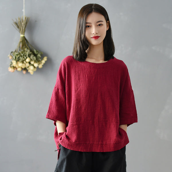 2020 SUMMER NEW! Women Simple Loose Linen and Cotton Round Neck T-shirt