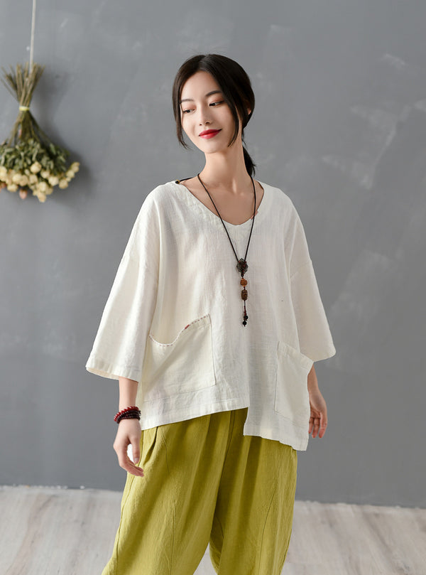 2020 SUMMER NEW! Women Big Pockets Loose Linen and Cotton V Neck T-shirt