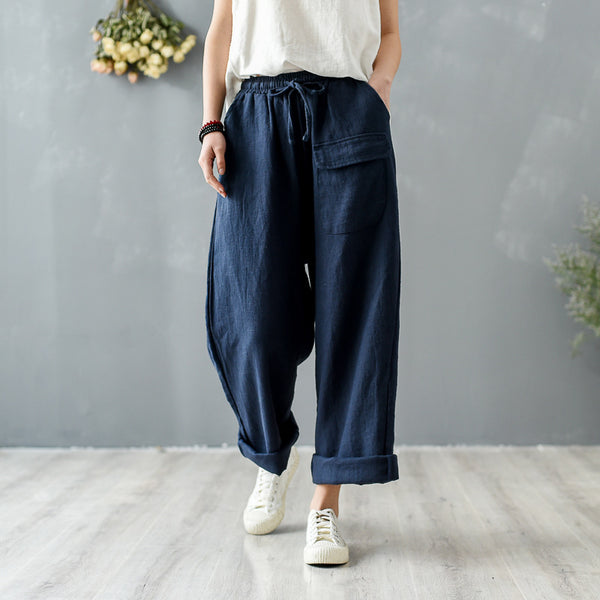 2020 SUMMER NEW! Women Retro Style Linen and Cotton Straight Pants