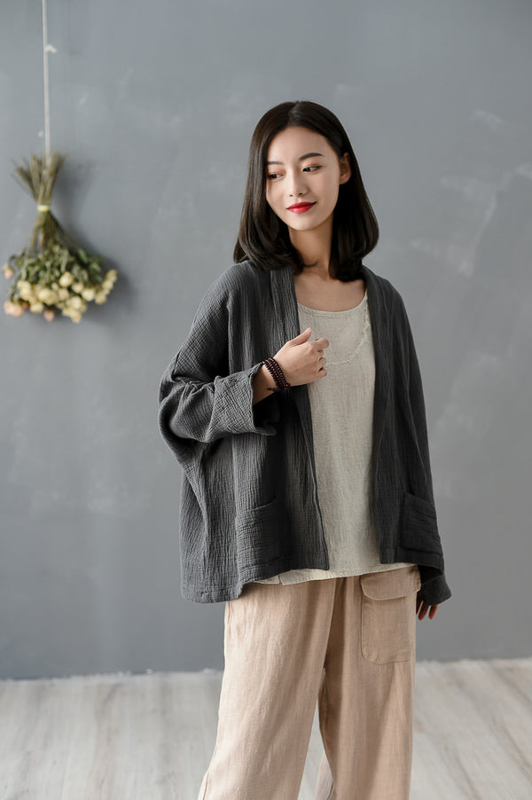 2020 SUMMER NEW! Women Pure Color Wrinkled Linen and Cotton Long Sleeve Cardigan