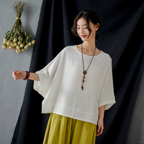 2020 SUMMER NEW! Women Pure Color Loose Linen and Cotton Round Neck T-shirt