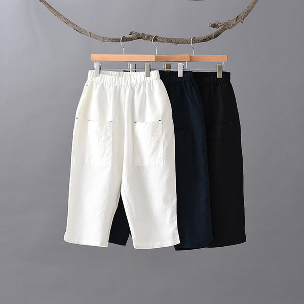 2020 SUMMER NEW! Women Simple Style Linen and Cotton Capri Pants