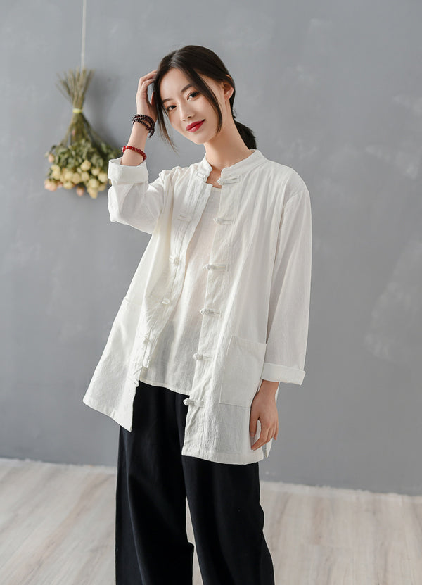2020 SUMMER NEW! Women Chinese KungFu Style Linen and Cotton Long Sleeve TaiChi Top