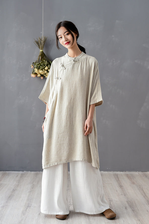 2020 SUMMER NEW! Women Chinese KungFu Style Linen and Cotton Short Sleeve Tunic