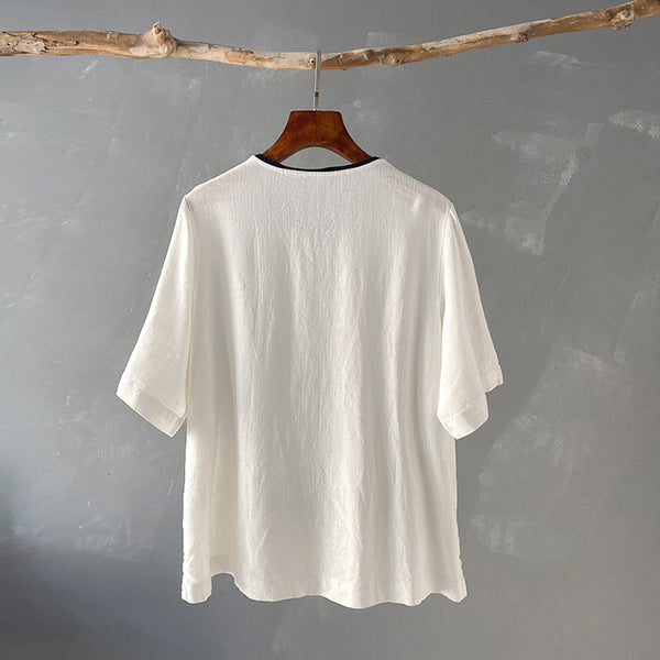 2020 SUMMER NEW! Women Retro Style Loose Linen and Cotton Round Neck T-shirt