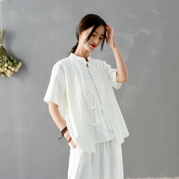 2020 SUMMER NEW! Women Chinese KungFu Style Linen and Cotton Short Sleeve TaiChi Top