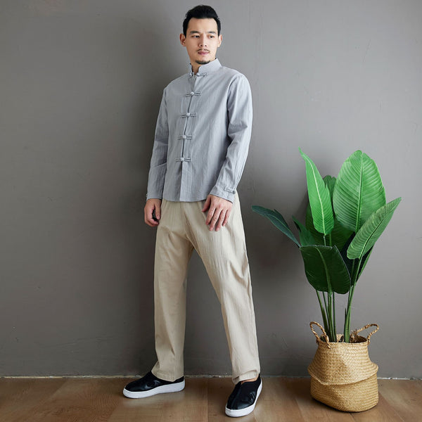 2020 NEW! Men Aisian Style Linen and Cotton Long Sleeve Jacket