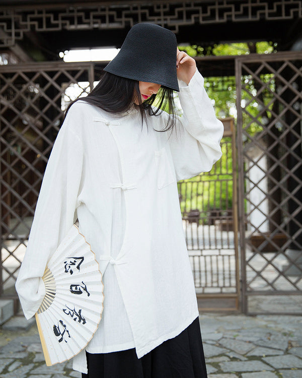 2020 SUMMER NEW! Women Retro Chinese Style Linen and Cotton Long Sleeve Loose Tops