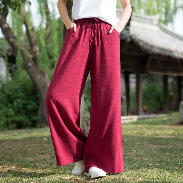 2020 SUMMER NEW! Women Sand Washed Linen and Cotton Wide Leg Pants