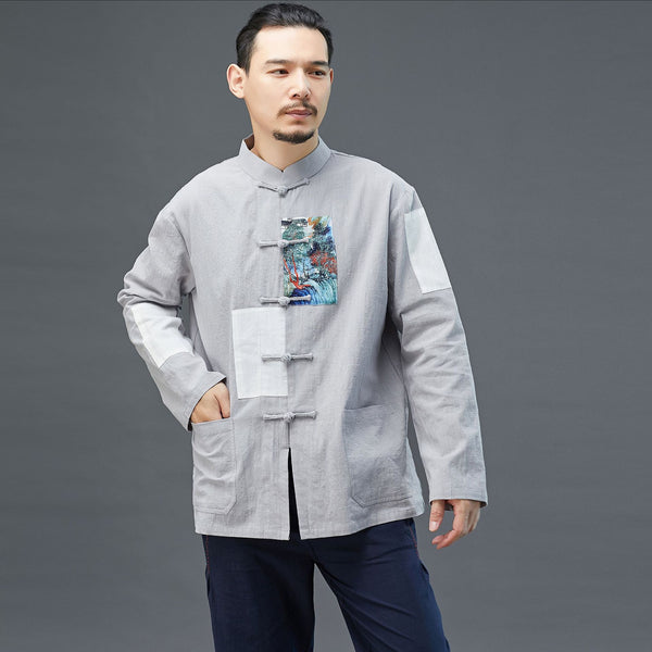 2020 NEW! Men Chinese Style Linen and Cotton Long Sleeve Jacket