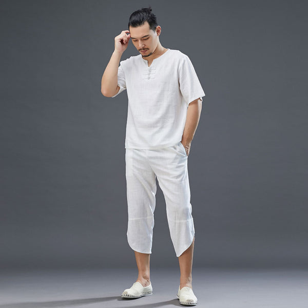 2020 SUMMER NEW! Men Retro Style Linen and Cotton Short Sleeve T-shirt and Capri Pants Set