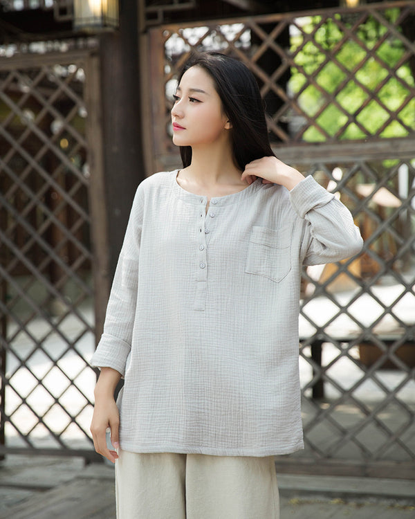 2020 SUMMER NEW! Women Simple Top Buckle Linen and Cotton Long Sleeve Loose T-shirt
