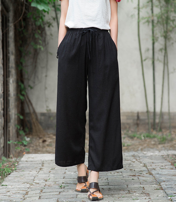 2020 SUMMER NEW! Women Linen and Cotton Yoga Style Wide Leg Cropped Pants