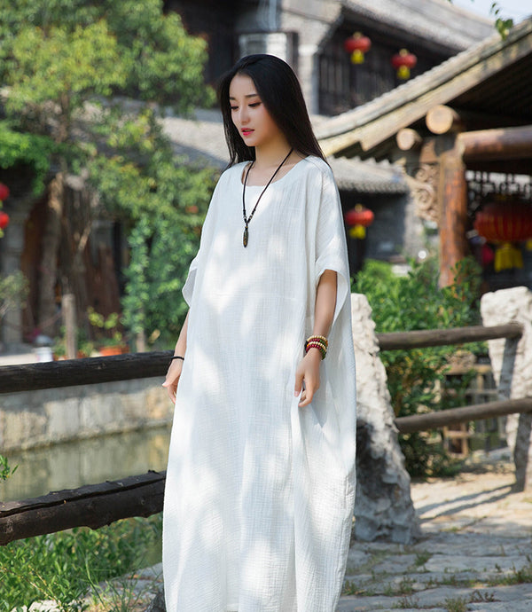 2020 SUMMER NEW! Women Simple Winkled Linen and Cotton Long Sleeve Loose Dress