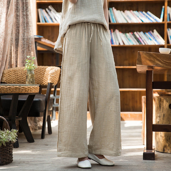 2020 SUMMER NEW! Women Wrinkled Linen and Cotton Yoga Style Wide Leg Pants