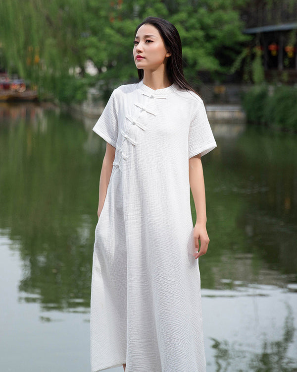 2020 SUMMER NEW! Retro Chinese Style Women Winkled Linen and Cotton Short Sleeve Dress