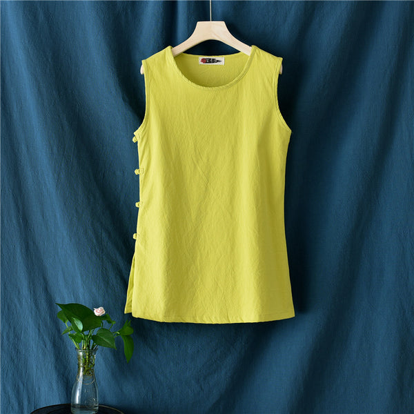 2020 SUMMER NEW! Women Side Buckle Casual Linen and Cotton Tank