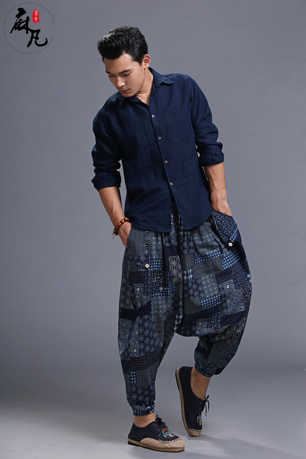 Men Casual Loose Cotton and Linen Printed Hanging Crotch Dancing Pants