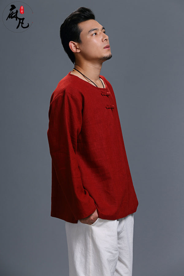 Men Chinese Style Casual loose Round Neck Long Sleeve Hanfu Kungfu Linen and Cotton Tops