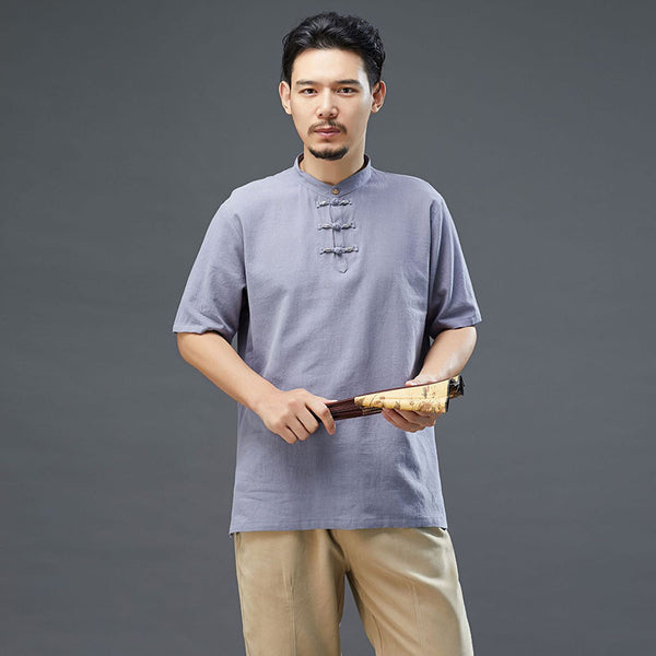 2020 SUMMER NEW! Men Modern Aisian Style Linen and Cotton Round Necked Short Sleeve T-shirt