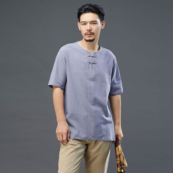 2020 SUMMER NEW! Men Retro Style Linen and Cotton Top Buckle Round Necked Short Sleeve T-shirt