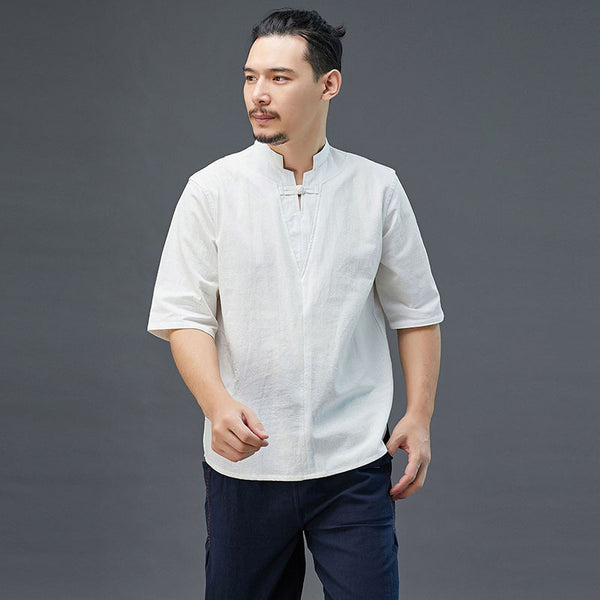 2020 SUMMER NEW! Men Modern Aisian Style Linen and Cotton Top Buckle Short Sleeve T-shirt