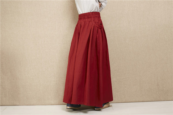 Women New Style Loose Linen and Cotton Ankle Length Skirt