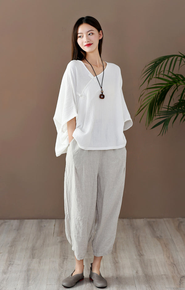 2020 SUMMER NEW! Women Retro Zen Style Right Buckle Loose Linen and Cotton V-Neck T-shirt