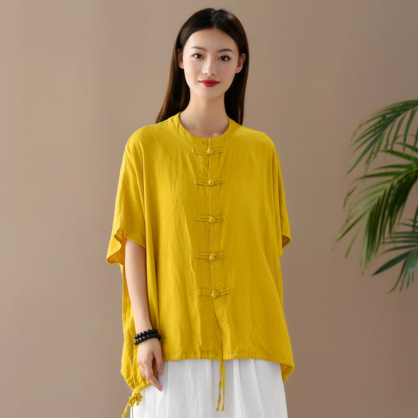 2020 SUMMER NEW! Women Retro Style Linen and Cotton Round Necked Cardigan