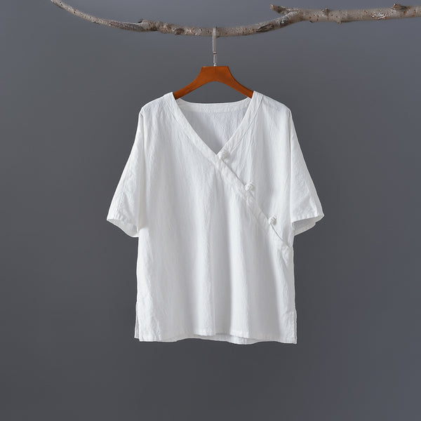 2020 SUMMER NEW! Women Retro Zen Style Left Buckle Loose Linen and Cotton V-Neck T-shirt