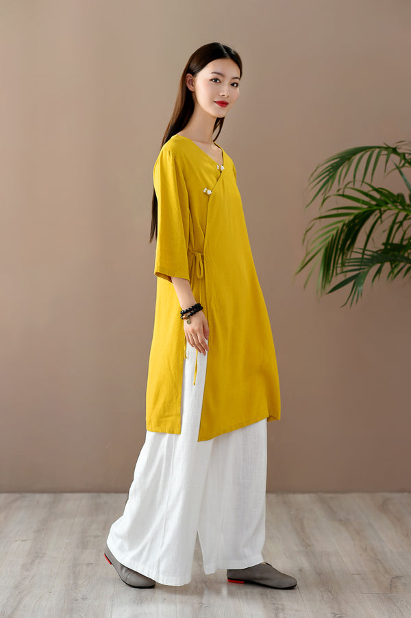 2020 SUMMER NEW! Women Retro Zen Style Right Buckle Linen and Cotton Tunic
