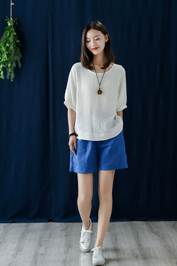 2020 SUMMER NEW! Women Casual Loose Style Wrinkled Linen and Cotton Round Necked T-shirt
