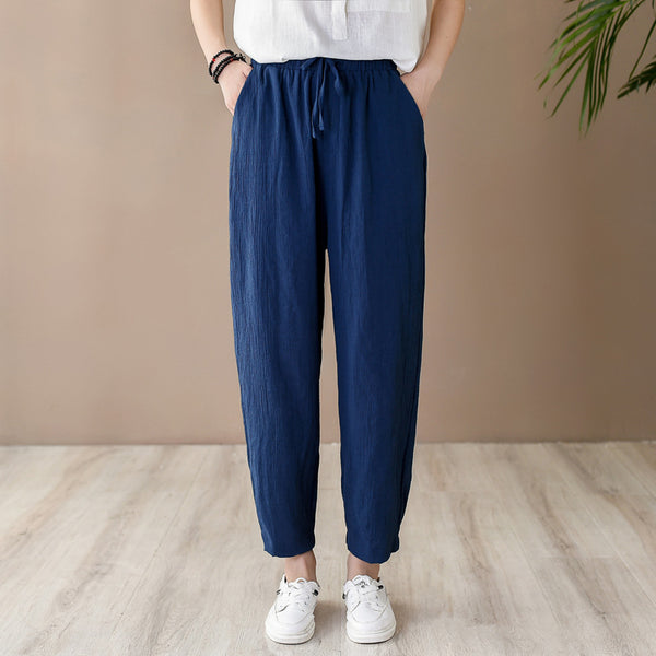 2020 SUMMER NEW! Women Retro Style Wrinkled Linen and Cotton Cropped Pants