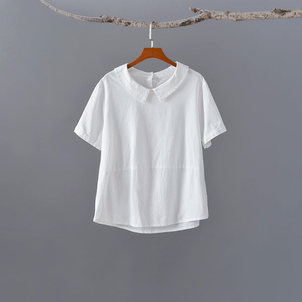 2020 SUMMER NEW! Women Retro Style Back Buckle Linen and Cotton Round Neck T-shirt