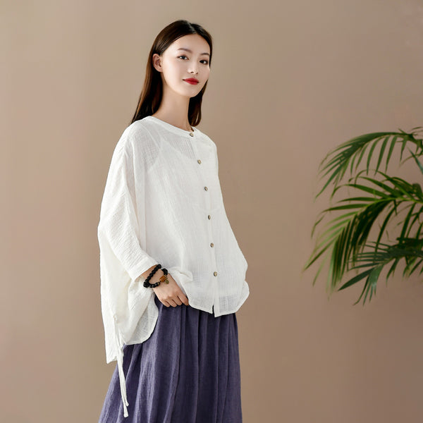 2020 SUMMER NEW! Women Casual Loose Style Wrinkled Linen and Cotton Cardigan