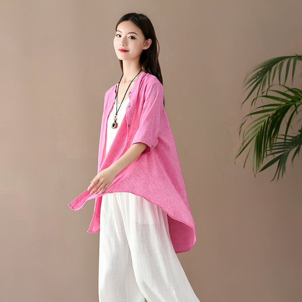 2020 SUMMER NEW! Women Casual Loose Style Linen and Cotton Round Necked Cardigan