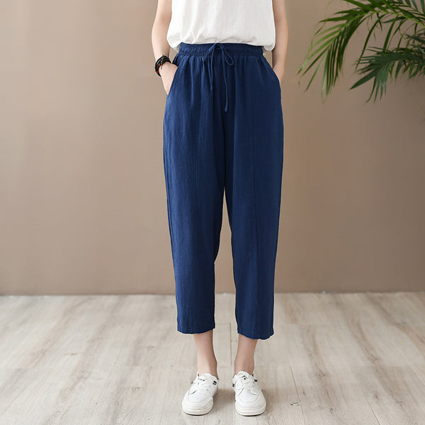 2020 SUMMER NEW! Women Casual Style Wrinkled Linen and Cotton Lantern Capri Pants