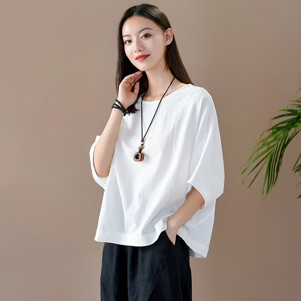 2020 SUMMER NEW! Women Casual Loose Style Linen and Cotton Round Necked T-shirt