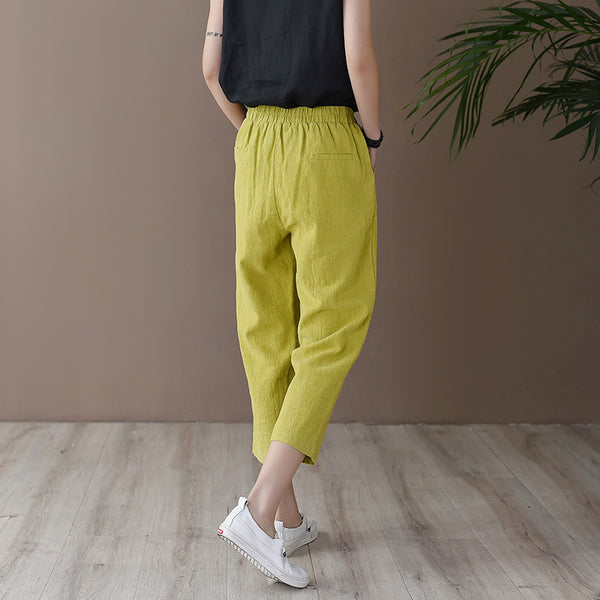 2020 SUMMER NEW! Women Retro Casual Style Linen and Cotton Lantern Cropped Pants
