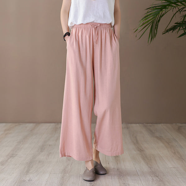 2020 SUMMER NEW! Women Casual Style Linen and Cotton Cropped Wide Leg Pants