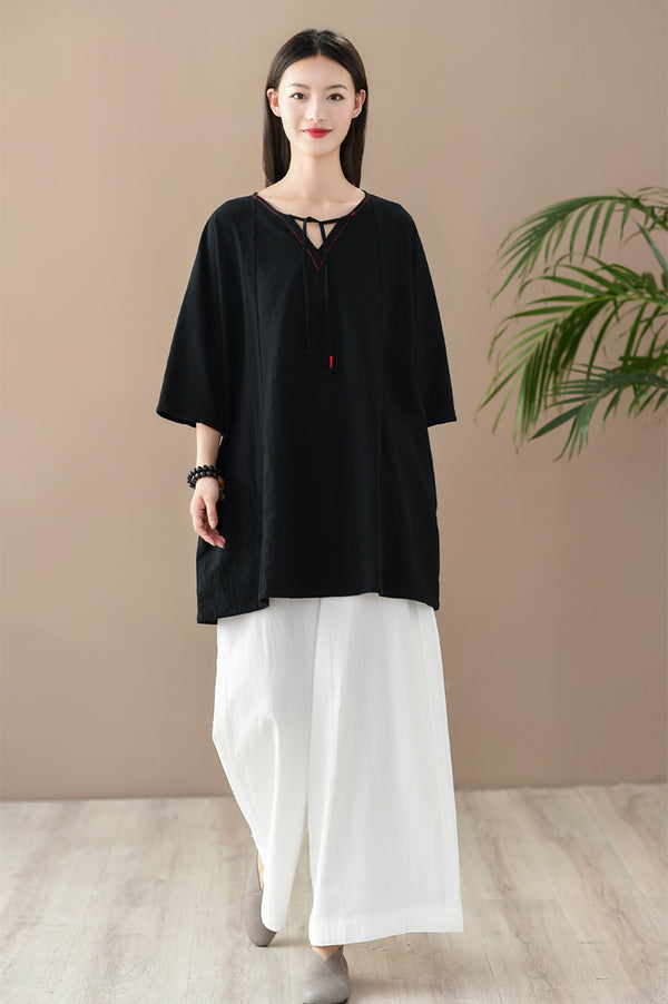 2020 SUMMER NEW! Women Casual Style Wrinkled Linen and Cotton V-Necked Tunic