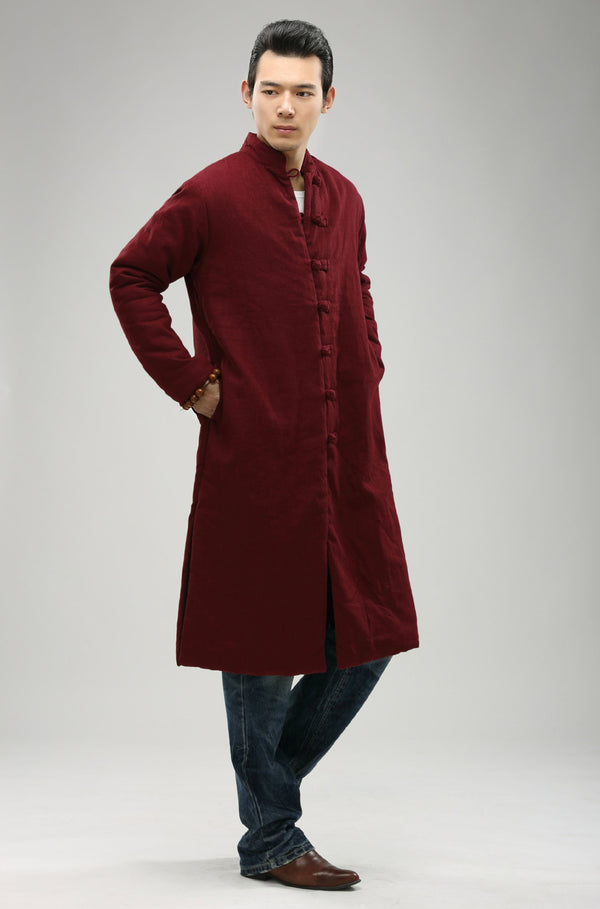 2020 NEW! Men/Women Retro Style Long Buckle Linen and Cotton Quilted Coat