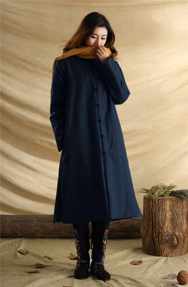 2020 NEW! Women/Men Retro Style Long Buckle Linen and Cotton Quilted Coat