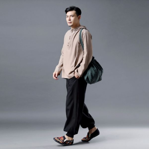 Men Casual Pullover Linen and Cotton Hoodies Top