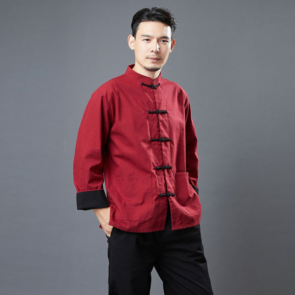 2020 NEW! Men Classic Style Linen and Cotton Long Sleeve KungFu Set (Top + Pants)